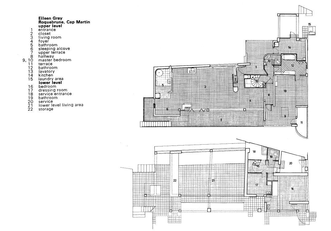 Eileen Gray E 1027 planta e corte do piso superior da villa e1027 de eileen gray