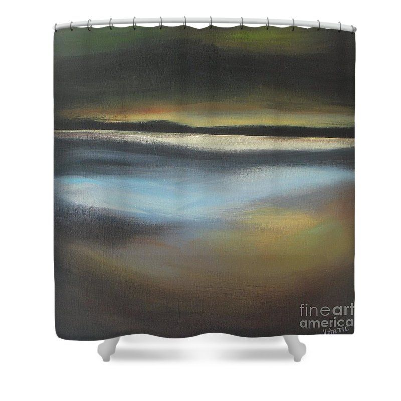 Landscape Shower Curtain Featuring The Painting Evening Light By