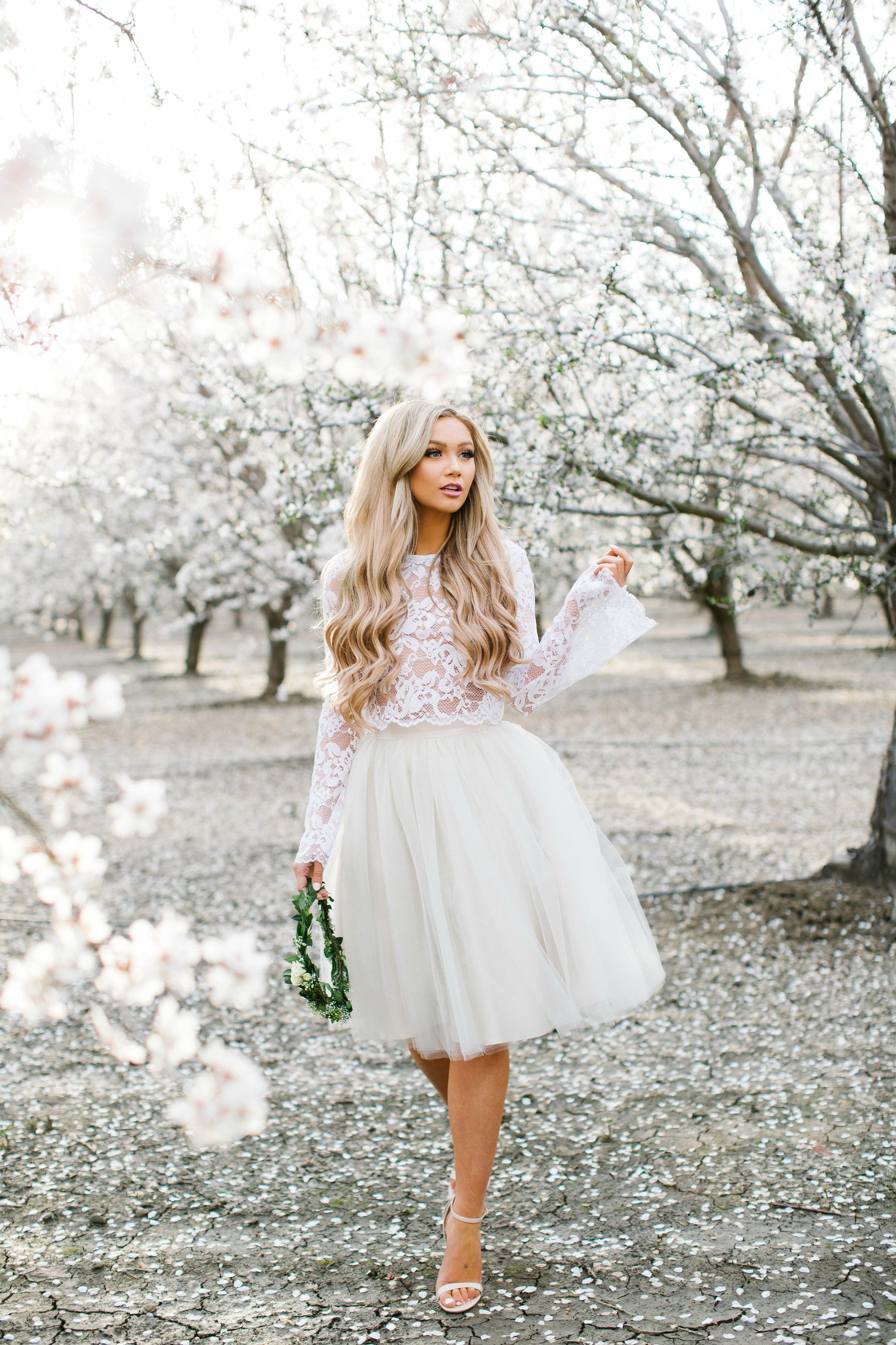 Audrey lace bell sleeve top by Bliss Tulle   Emma tulle skirt by Bliss Tulle