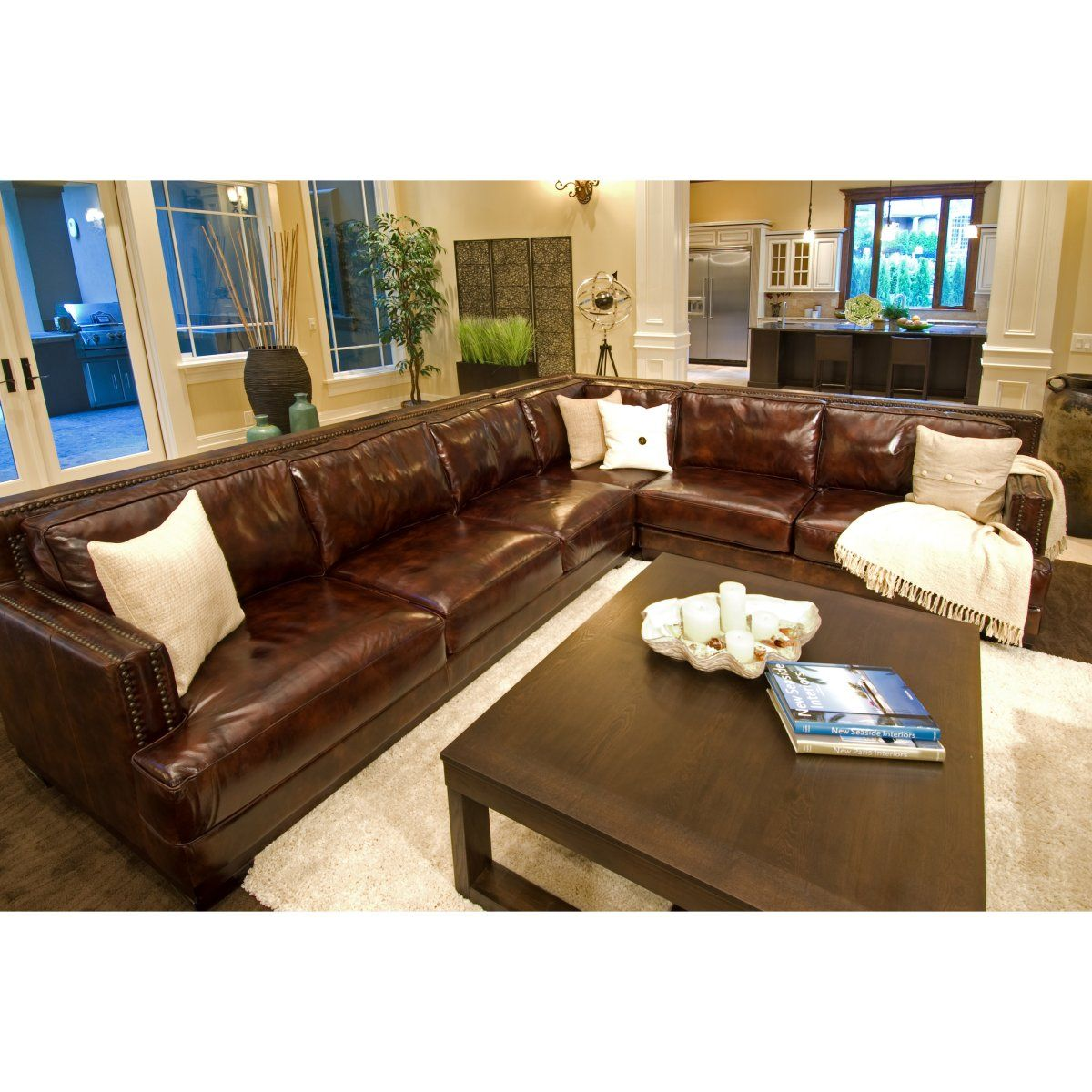 Easton top grain leather sectional left arm facing sofa for Easton leather sectional sofa