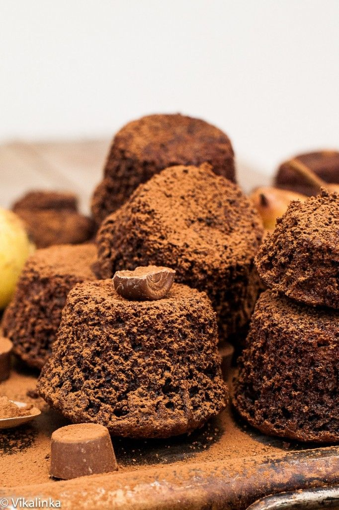 Chocolate Pear Bites with Rolo Centers #chocolate #pear #cupcakes #rolo #thanksgiving