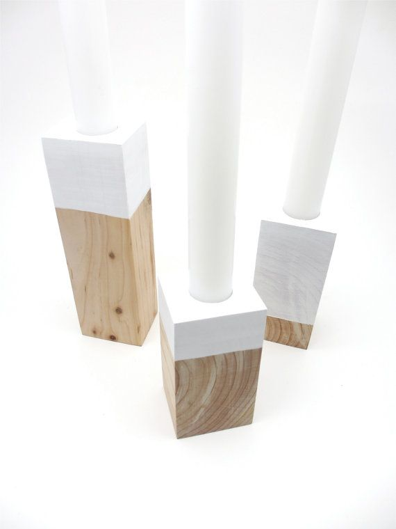 Wood Candle Holders Scandinavian Design Danish Modern Reclaimed Decor
