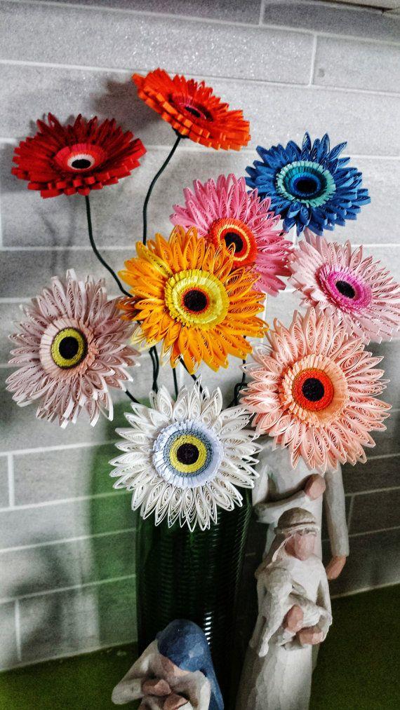 Paper Quilled Gerbera Flower For Wedding Wedding Centerpiece Birthday Anniversary Home Deco Set Of 5 Gerbera Flower Flowers Gerbera