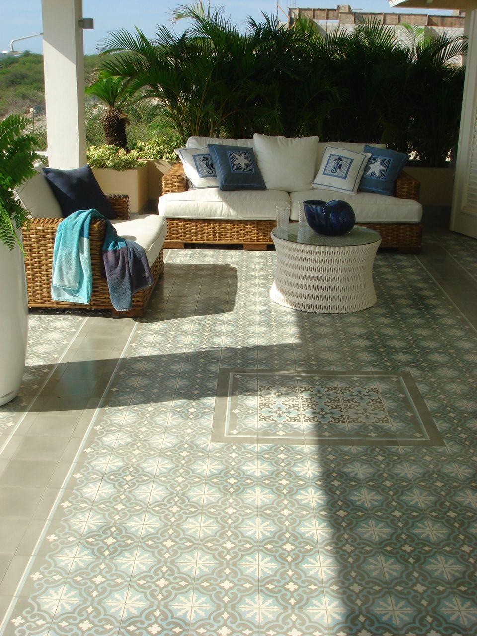 Porch with (Azule) cement tiles in Curacao.   garden   Pinterest ...