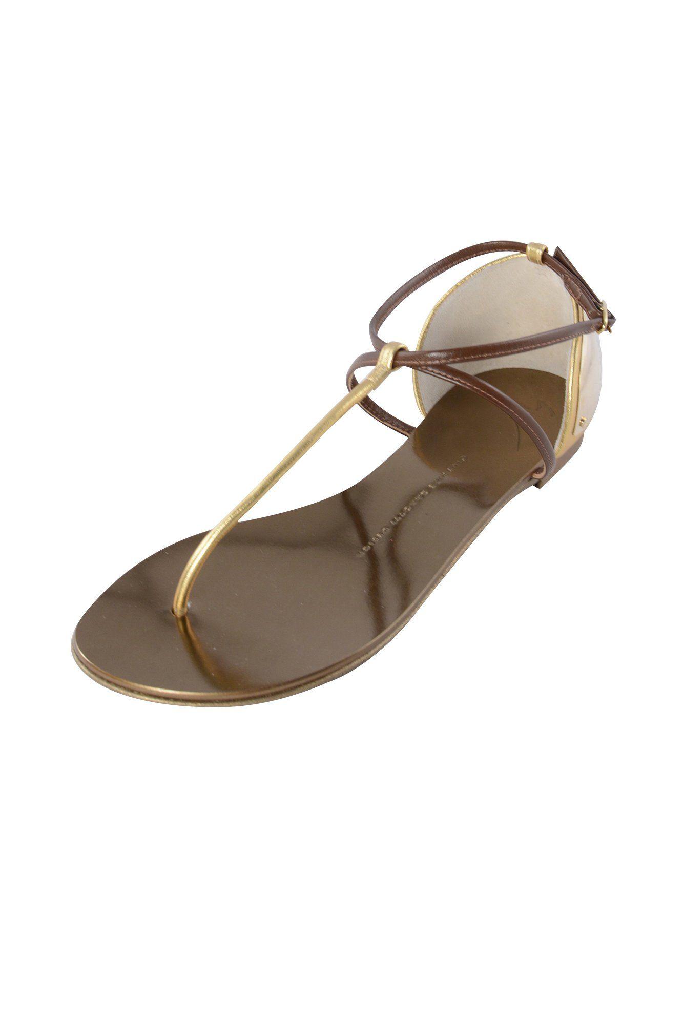 Giuseppe Zanotti Womens Oro Gold Rock 10 Tallone T-Strap Sandals 37. Rock 10 Tallone. Giuseppe Zanotti Design.