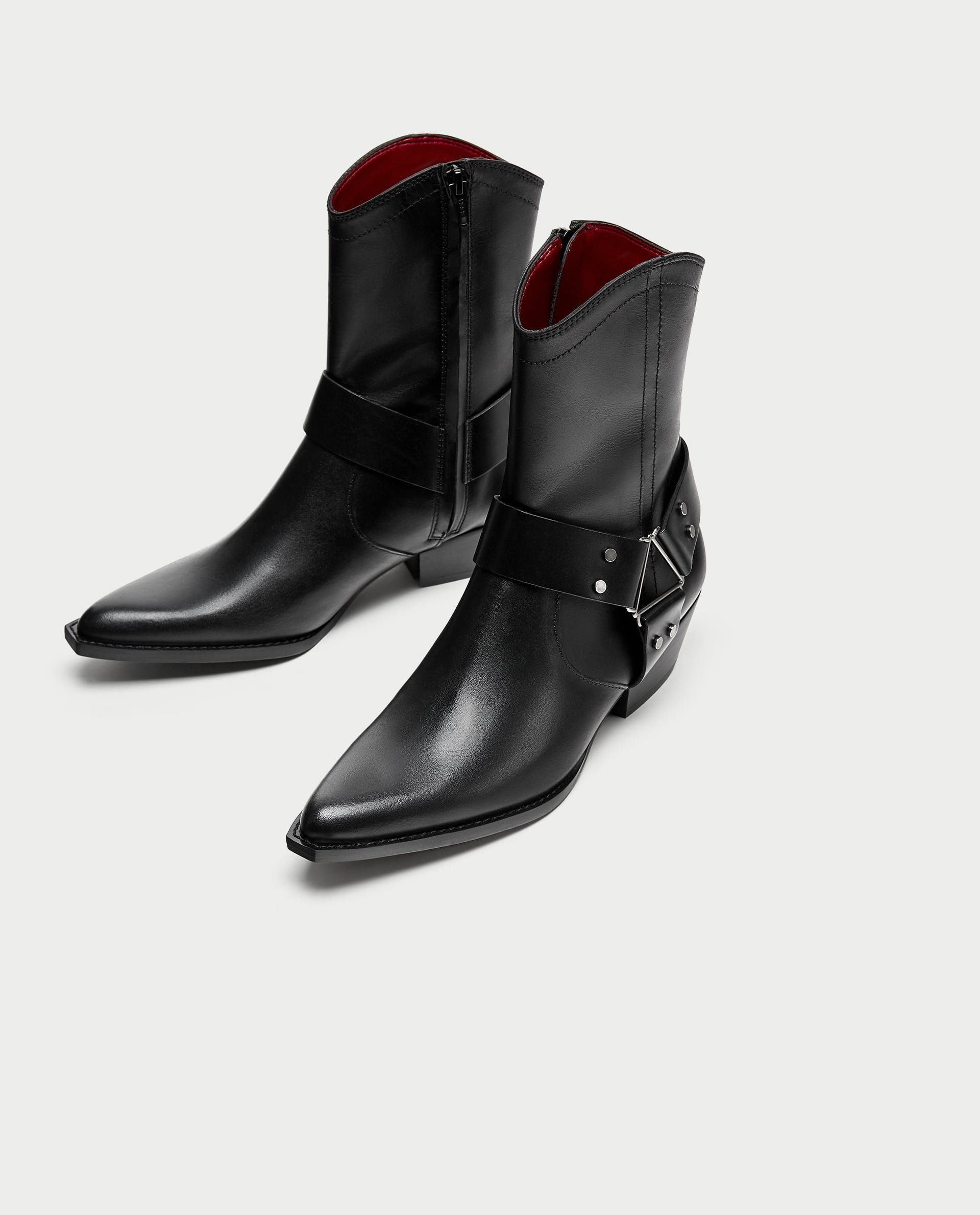 af8d9ec6560 Zara Leather Cowboy Boots | Zara women | Shoe boots, Boots, Ankle boots