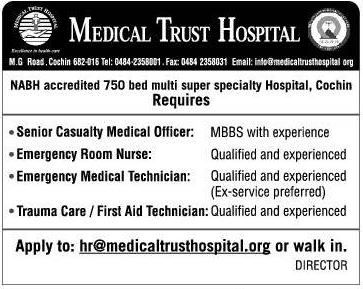 Urgently Hiring Medical Staffs  Senior Casualty Medical Officer