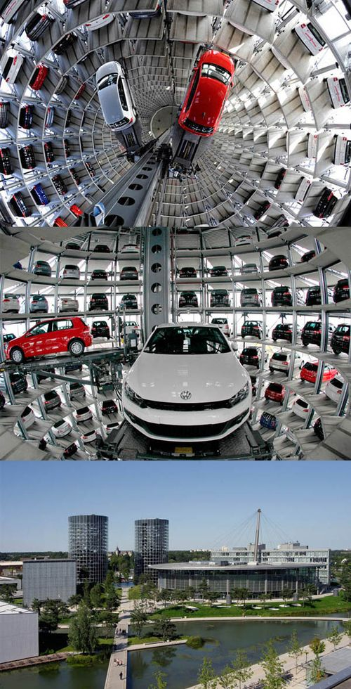 Volkswagen Parking Lot Towers Wolfsburg Germany Thing Very