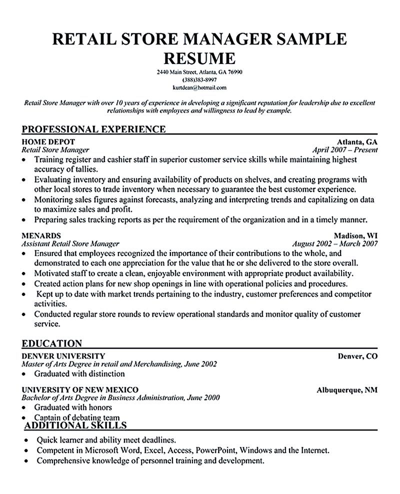 Retail Resume Template Retail Manager Resume Is Made For Those Professional Employments