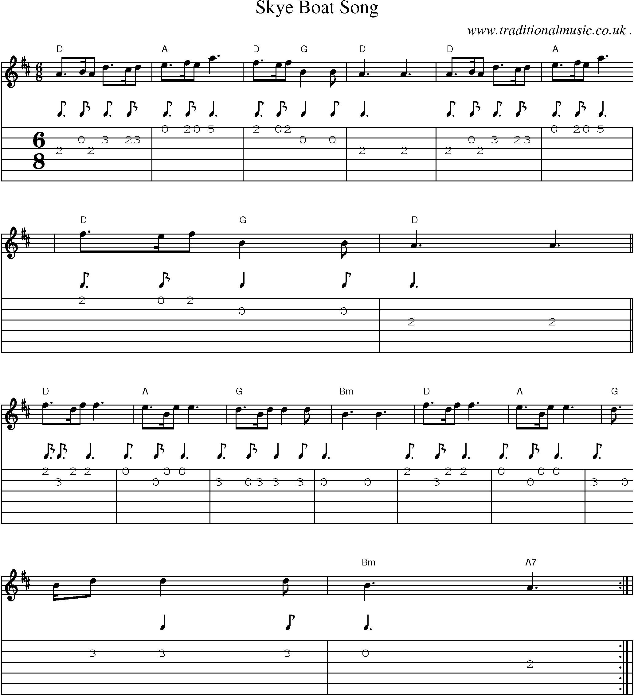 Scottish Tune Score Guitar Chords Tabs Skye Boat Song Guitar