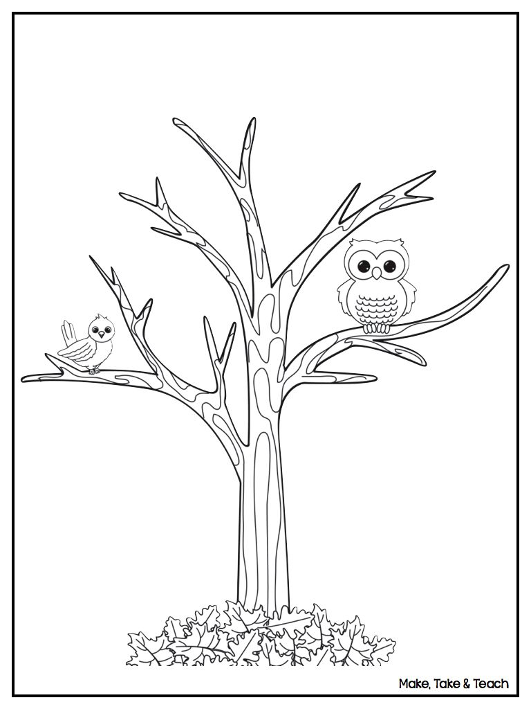 tree with no leaves coloring page sketch coloring page - Tree Leaves Coloring Page