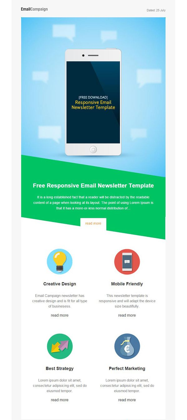 responsive email newsletter template free stuff pinterest