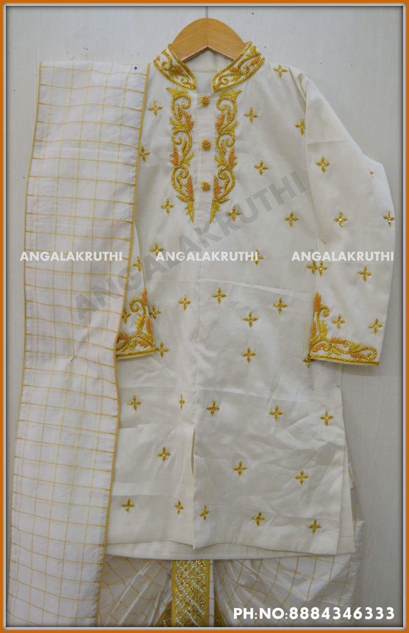 1e78ba5293d8 Boys kurta designs by Angalakruthi boutique Bangalore  Pure silk ...