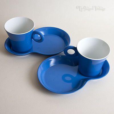 Retro 70s 80s Blue Melamine Cups & Snack Plate Saucers GioStyle Melamina Camper