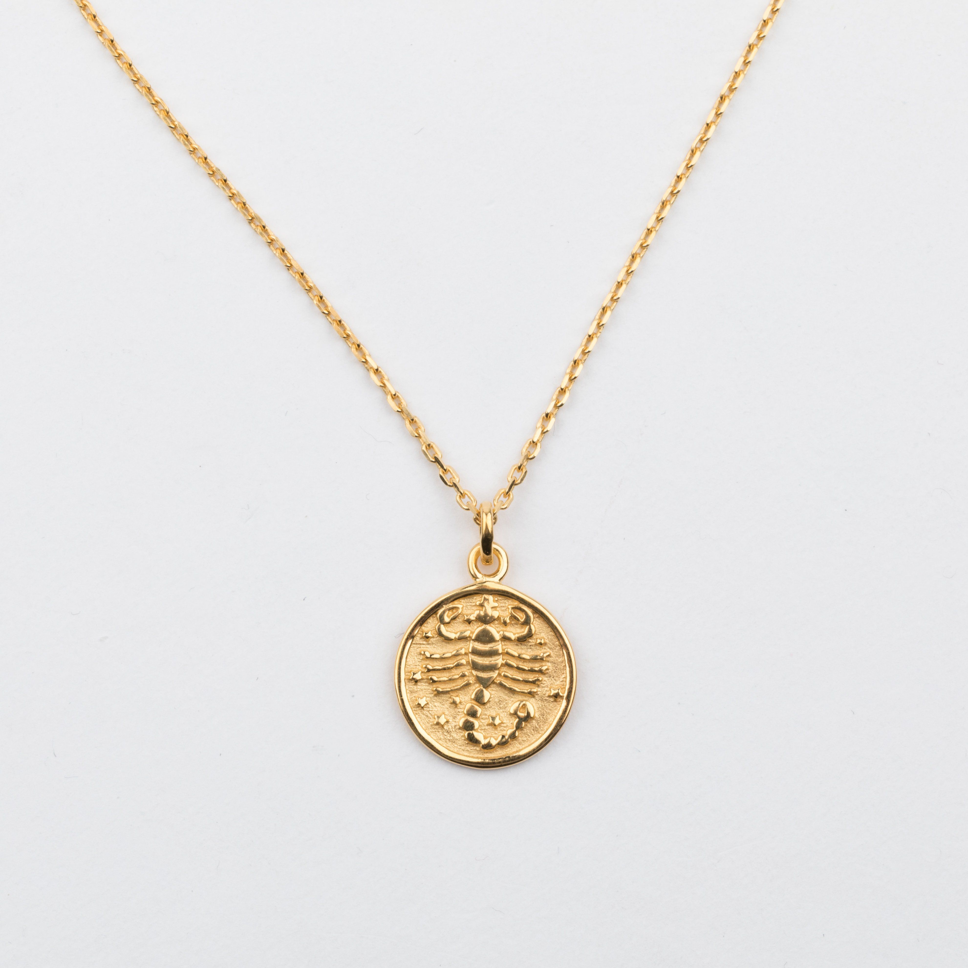 K Gold Vermeil Scorpio Horoscope Pendant Necklace Jewelry