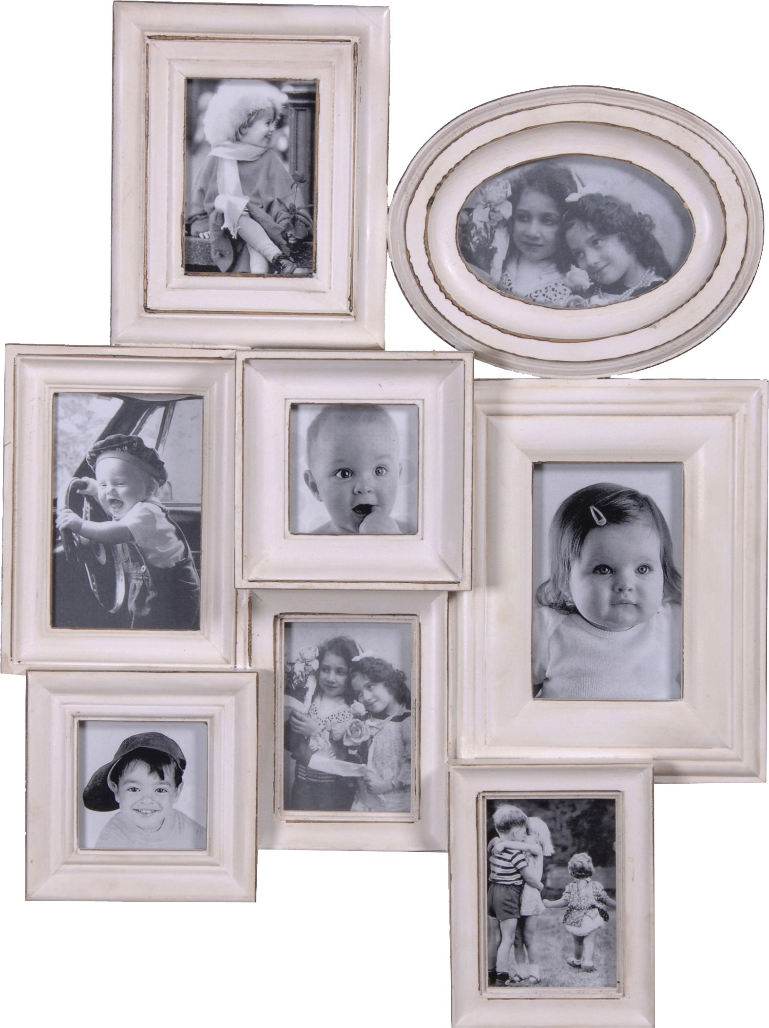 Antique White Multi Frame. Eight vintage style frames with an ...