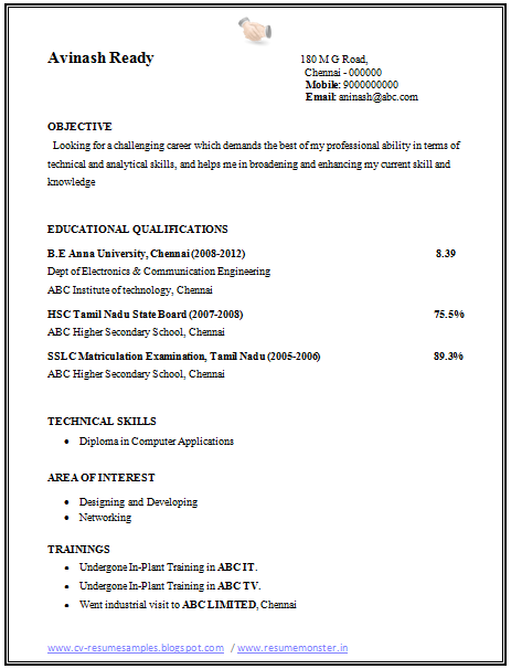Professional Curriculum Vitae Resume Template For All Job Seekers Sample Template Of A Fresher Electro Engineering Resume Sample Resume Format Resume Format