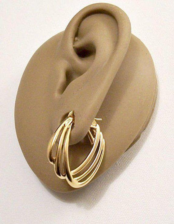 Monet Layered Open Rib Hoops Pierced Earrings Gold Tone