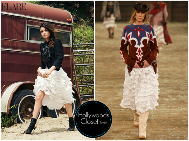 Lucy Hale   Flare Magazine Lucy features in the Falre Magazine soon wearing a Chanel Pre-Fall 2014 Tiered Ruffles Skirt. Sadly this is not for purchase. Click here to see Lucys other Flare outfits!