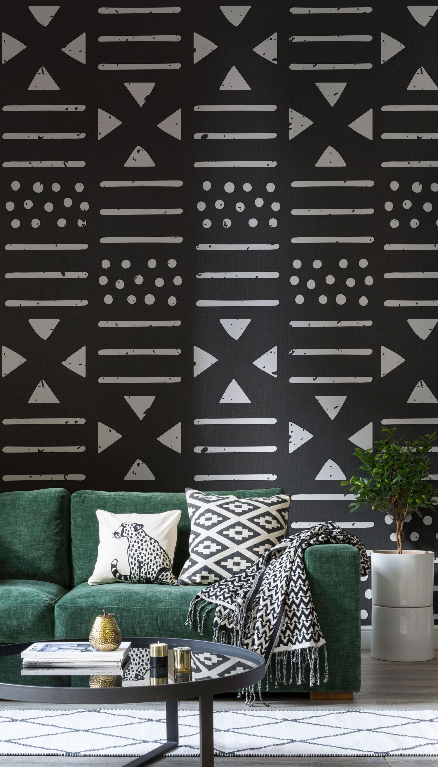 Black and White Tribal Pattern Wallpaper