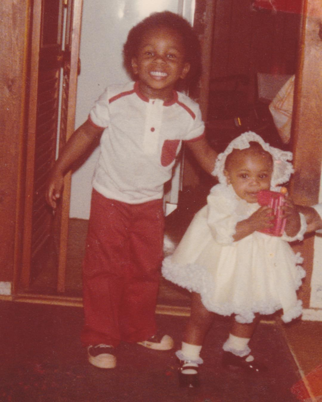 Me and my Lil cousin when she was a little under a year old...I think. Mama always had me looking sharp. Just think this was taken when Hip Hop was right around the corner....