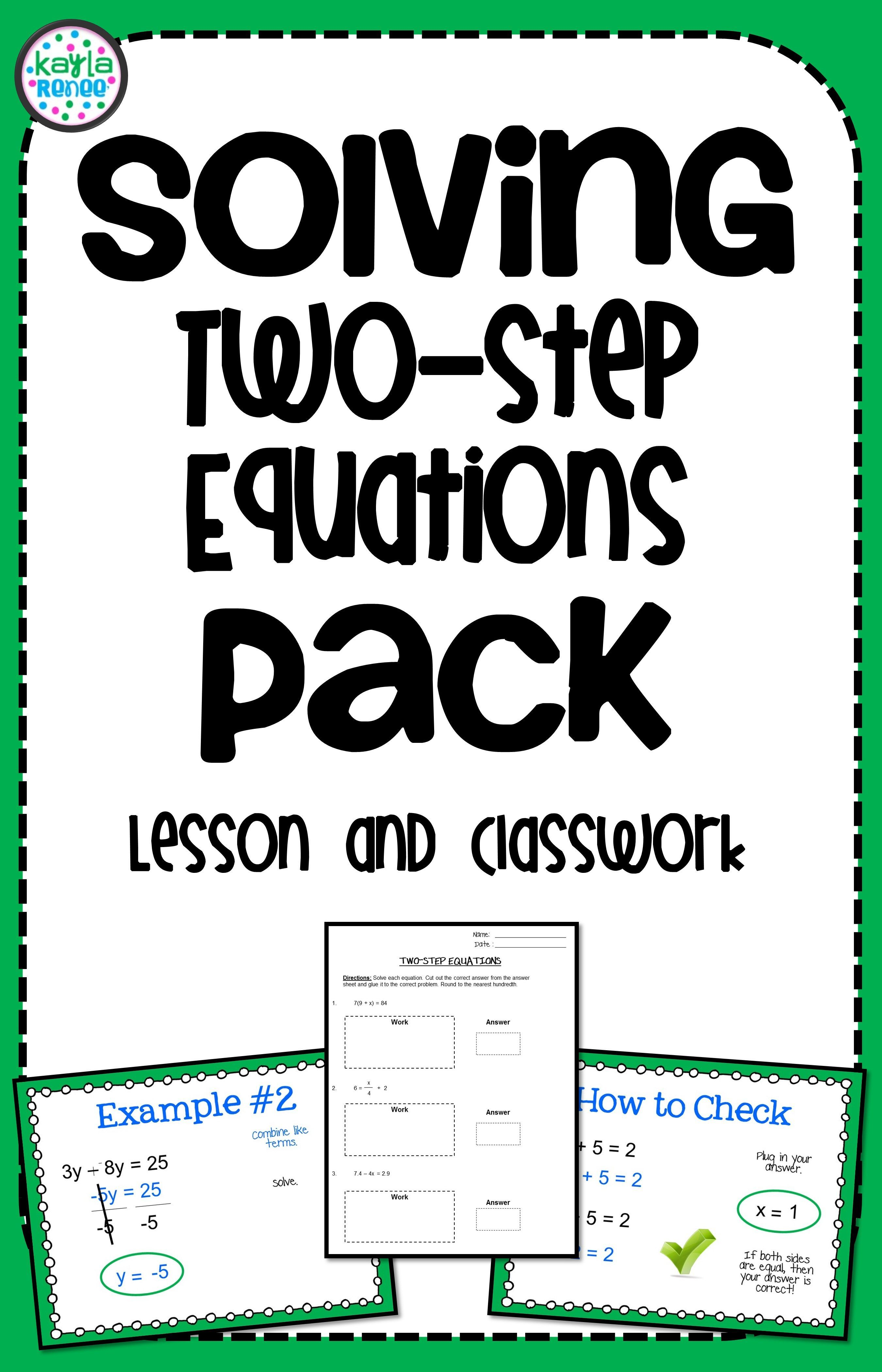 Teach Two Step Equations With This Lesson Pack The Lesson Includes A 12 Slide Powerpoint Teaching Expressions Middle School Math Resources Two Step Equations