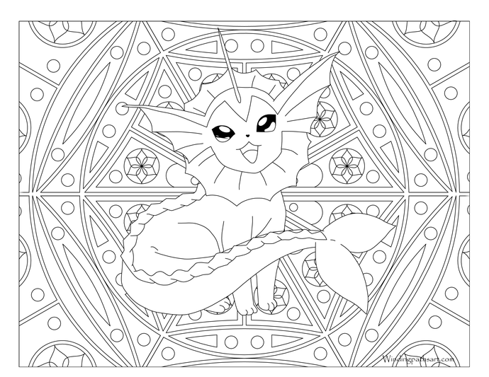 134 Vaporeon Pokemon Coloring Page Pokemon coloring