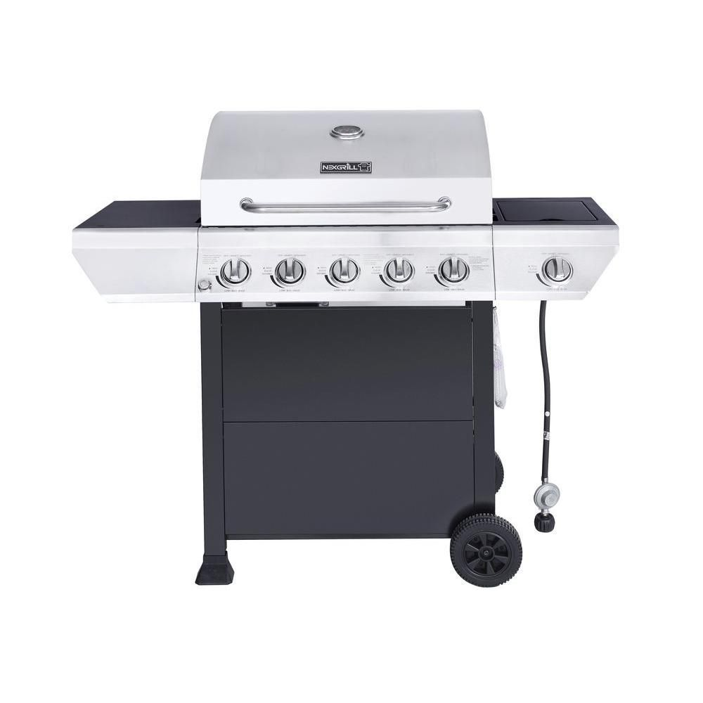 Nexgrill 5-Burner Propane Gas Grill with Side Burner in Stainless ...