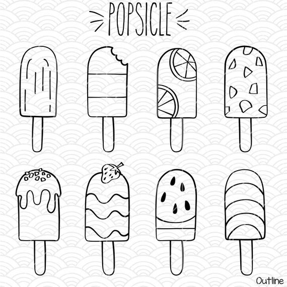 16 Popsicle Clip Art   Hand Drawn Frozen Treat Vector Graphics   Ice Cream Outline Drawing illustrations Bundle   Png Eps Pdf Svg Dxf