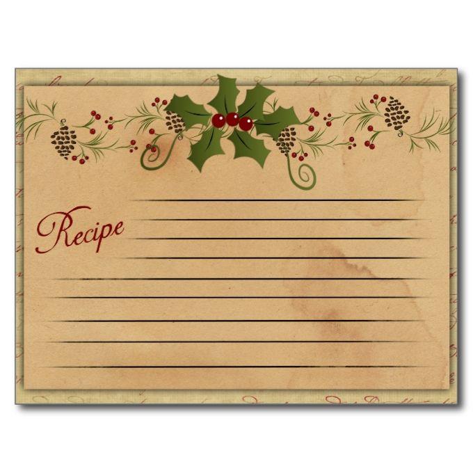 Vintage Christmas Recipe Card Zazzle Com Christmas Recipe Cards Recipe Cards Template Vintage Christmas Recipes