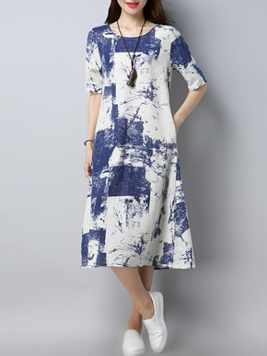380bffa3194b9  fashion  trends  styles  AdoreWe  BerryLook -  berrylook Abstract Print  Round Neck Pocket Midi Shift Dress - AdoreWe.com