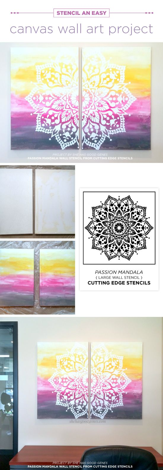 Cutting Edge Stencils shares how to stencil DIY canvas artwork using the  Passion Mandala wall pattern