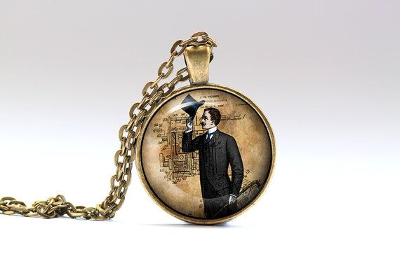 Amazing Gentleman necklace with a chain or a leather cord. Gorgeous Steampunk pendant in bronze or silver finish. Unique Victorian jewelry.  SIZE: 1