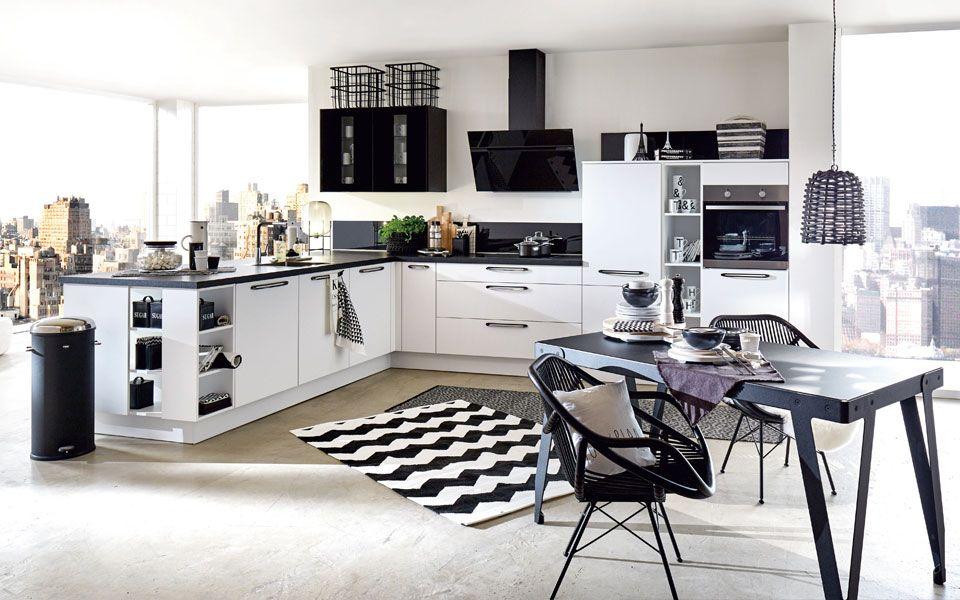 tolle Küche im schwarz\/weiß Look Schwarz Weiß Mix Pinterest - küche schwarz weiß