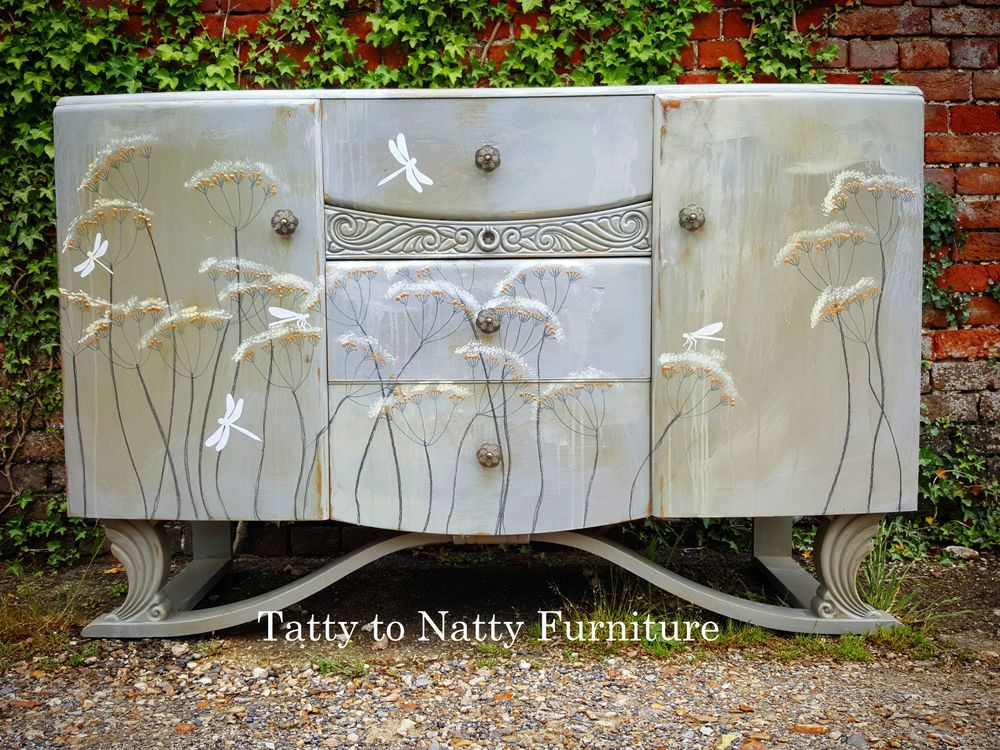 SIDEBOARD Cabinet Hand PAINTED Vintage SHABBY CHIC Grey Silver White  DECOUPAGE In Home, Furniture U0026