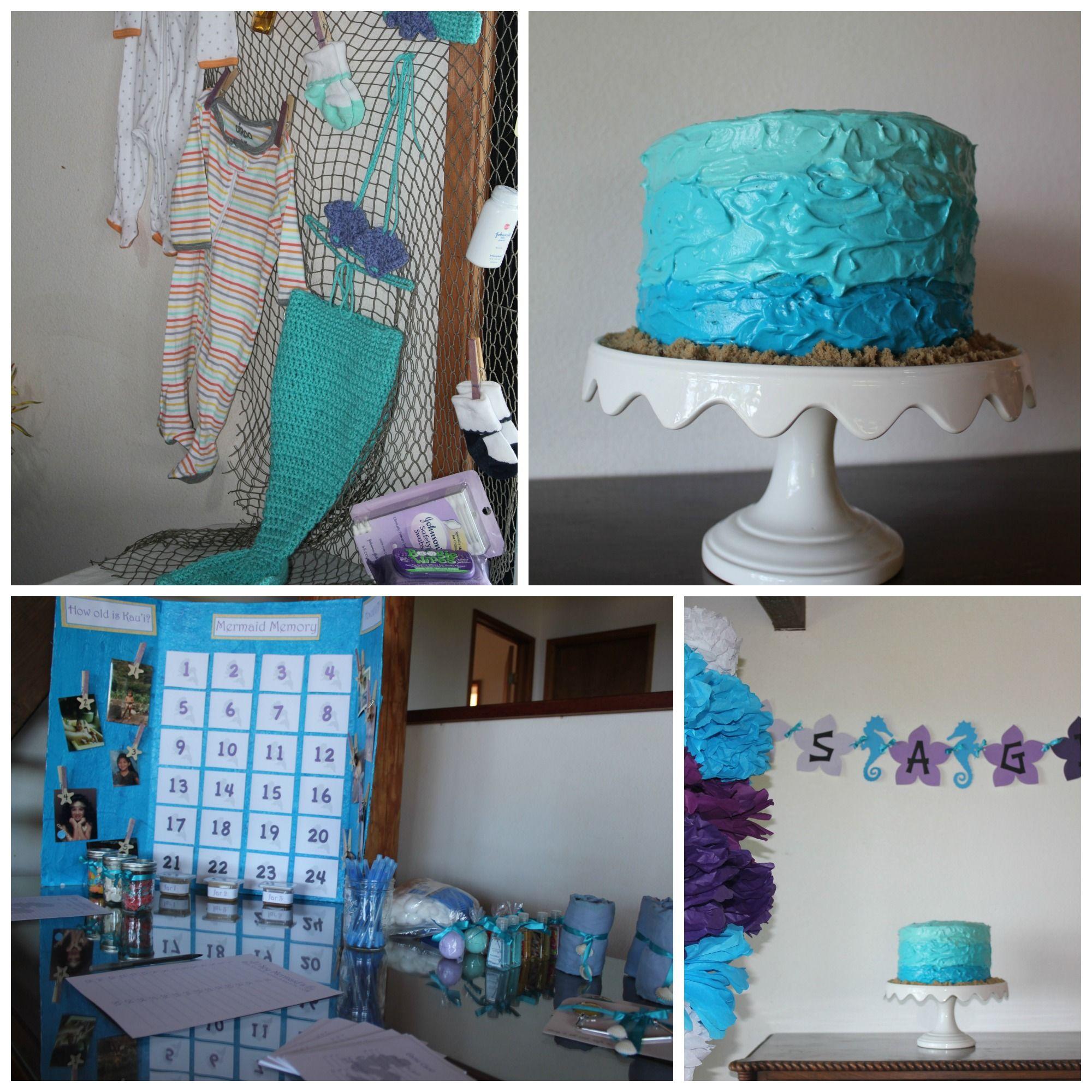 Baby shower cake Baby girl Sea life beach mermaid themed