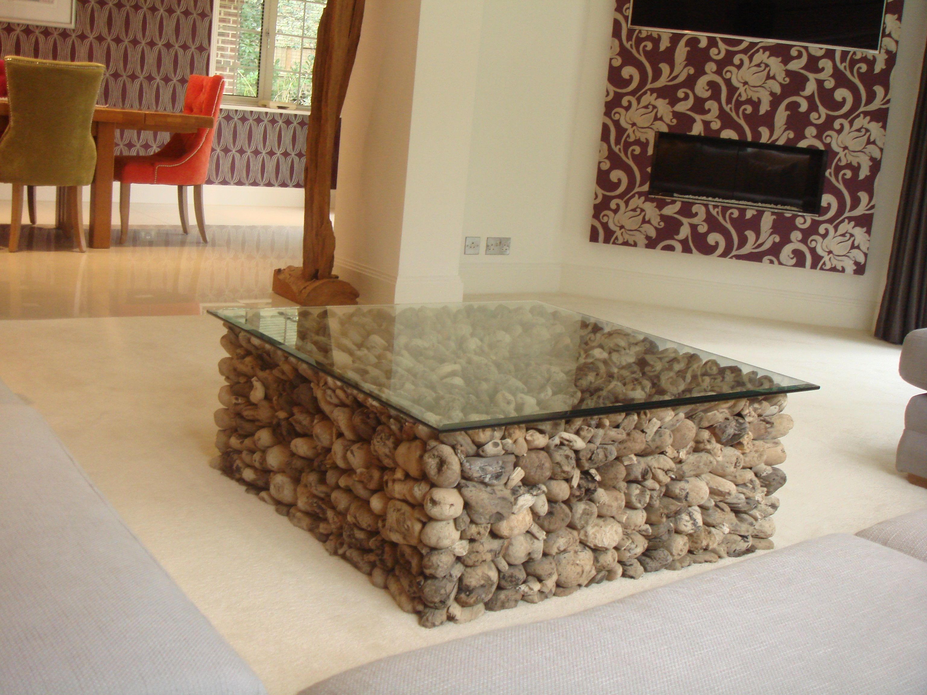 DriftwoodGlassCoffeeTableukisthislovelyrecycledwoodiron - Rustic wood and glass coffee table