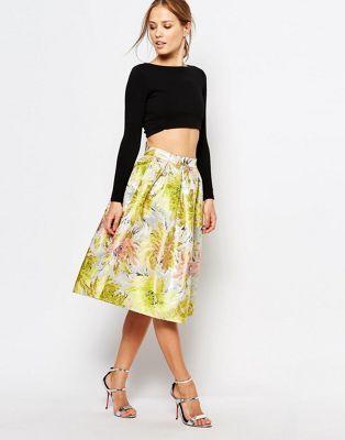 Chi Chi London Jacquard Metallic Full Midi Skirt