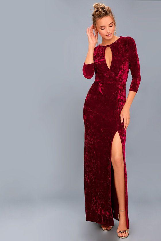 17bf8ece6d Keep Love Alive Wine Red Velvet Maxi Dress
