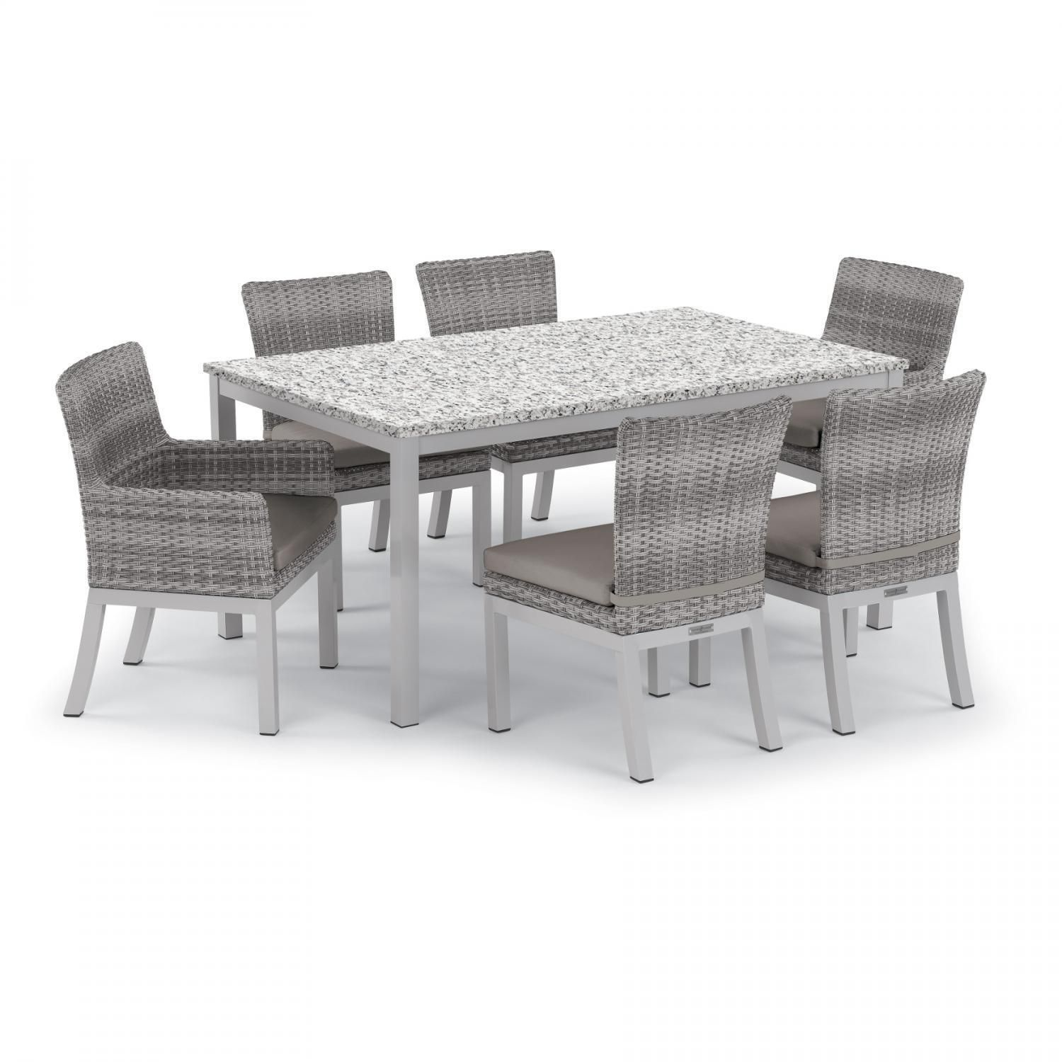 Oxford Garden Argento 7 Piece Wicker Patio Dining Set W/ 63 ...