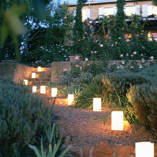 Lighted front garden  Light up your garden with tealights or lanterns. Solar lights are ideal – simply leave them outside during the day and they will provide up to 5 hours of glow during the evening.