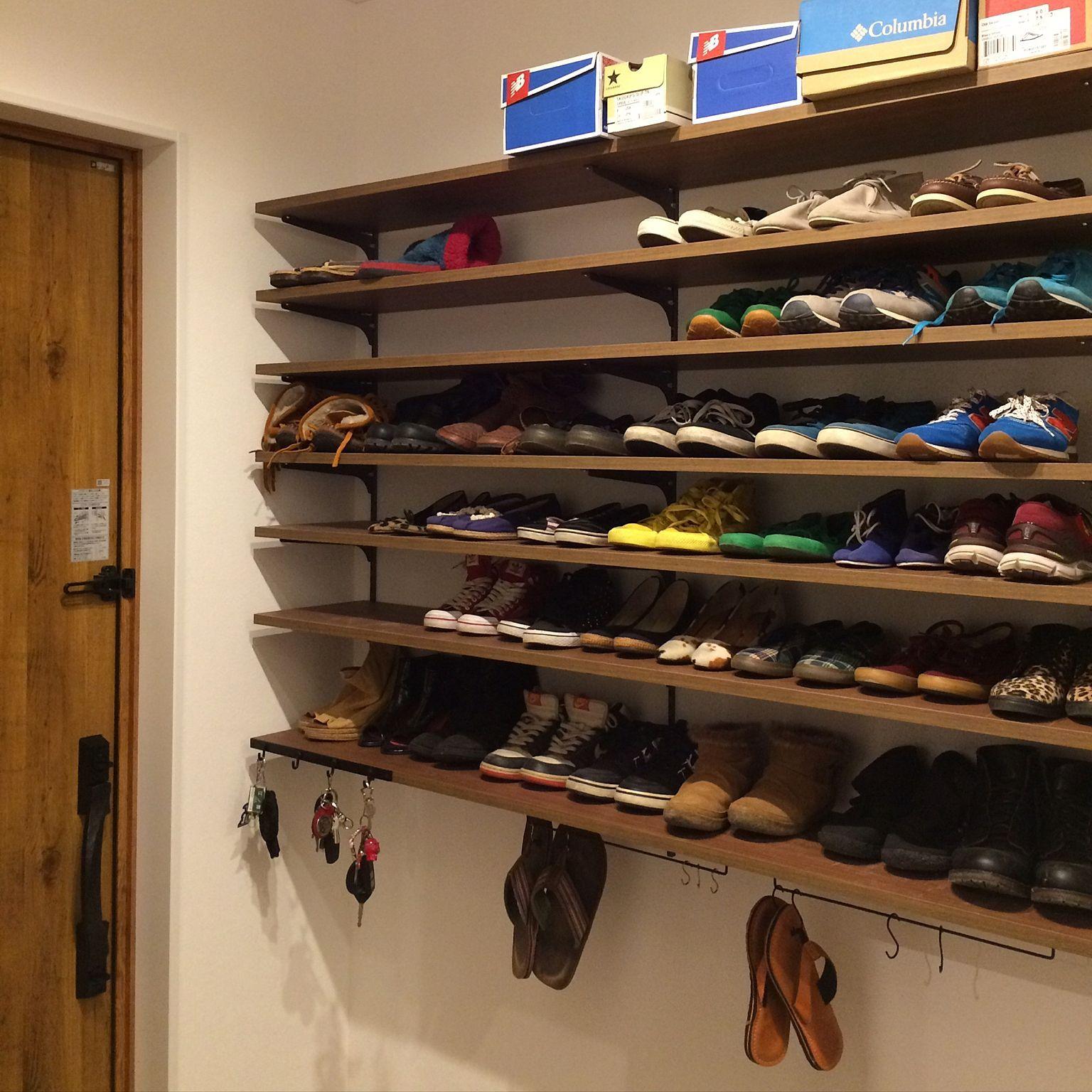 Entrance Diy セリア スニーカー 靴棚 鍵かけフックのインテリア実例