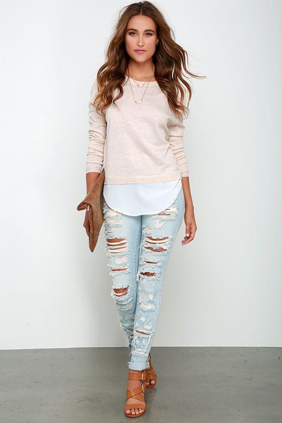 Outfits Con Jeans Rotos | Traje Jeans Y Melocotones