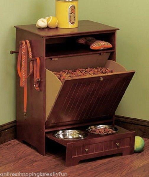 Dog & Cat Food Feeding Station Cabinet Kitchen Pet Furniture Storage Feeder Bowl #Feeder