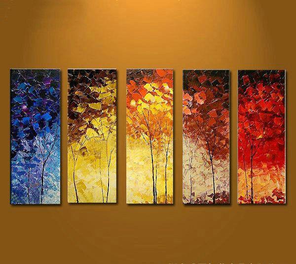Pintado a mano de pintura al oleo arbol botanico con marco - Pintar marcos de cuadros ...