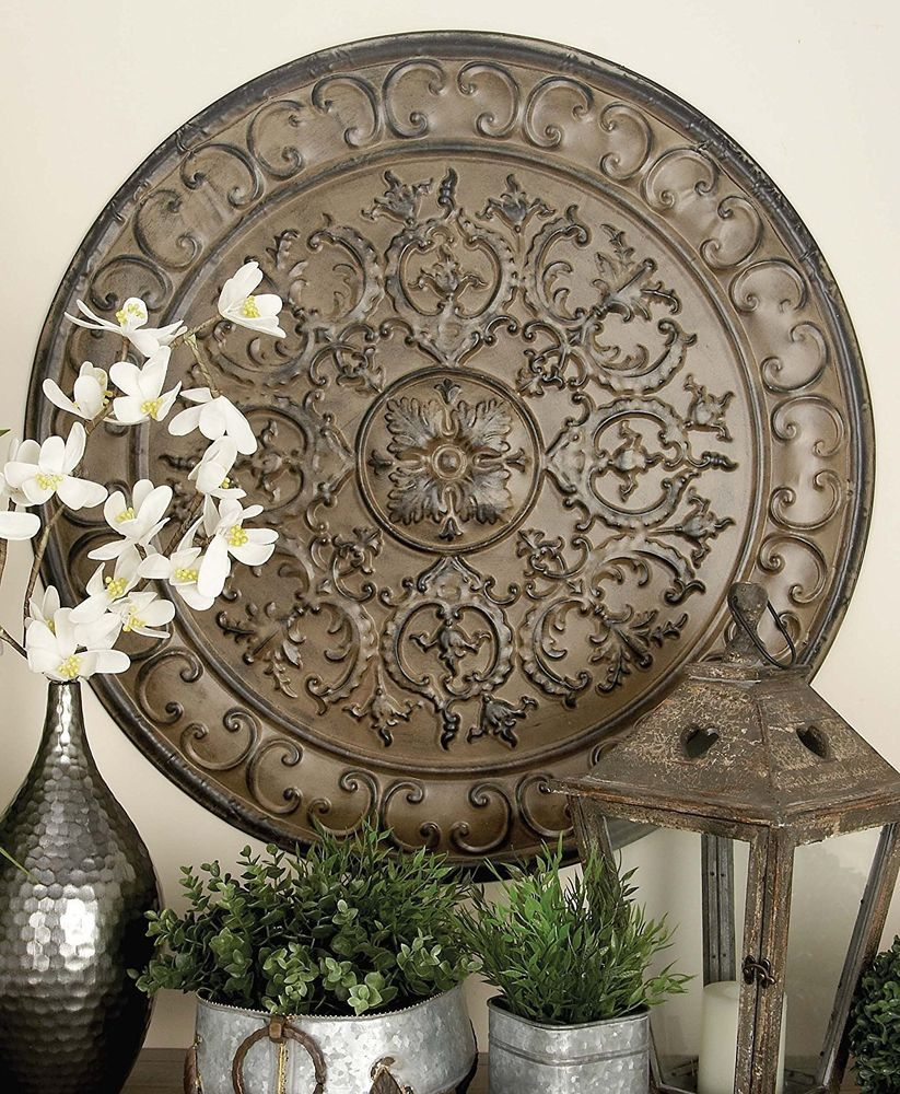 Large Vintage French Tuscan Old World Iron Raised Relief Medallion Wall Decor Unbranded Transitional Tuscan Decorating Tuscan Design Medallion Wall Decor
