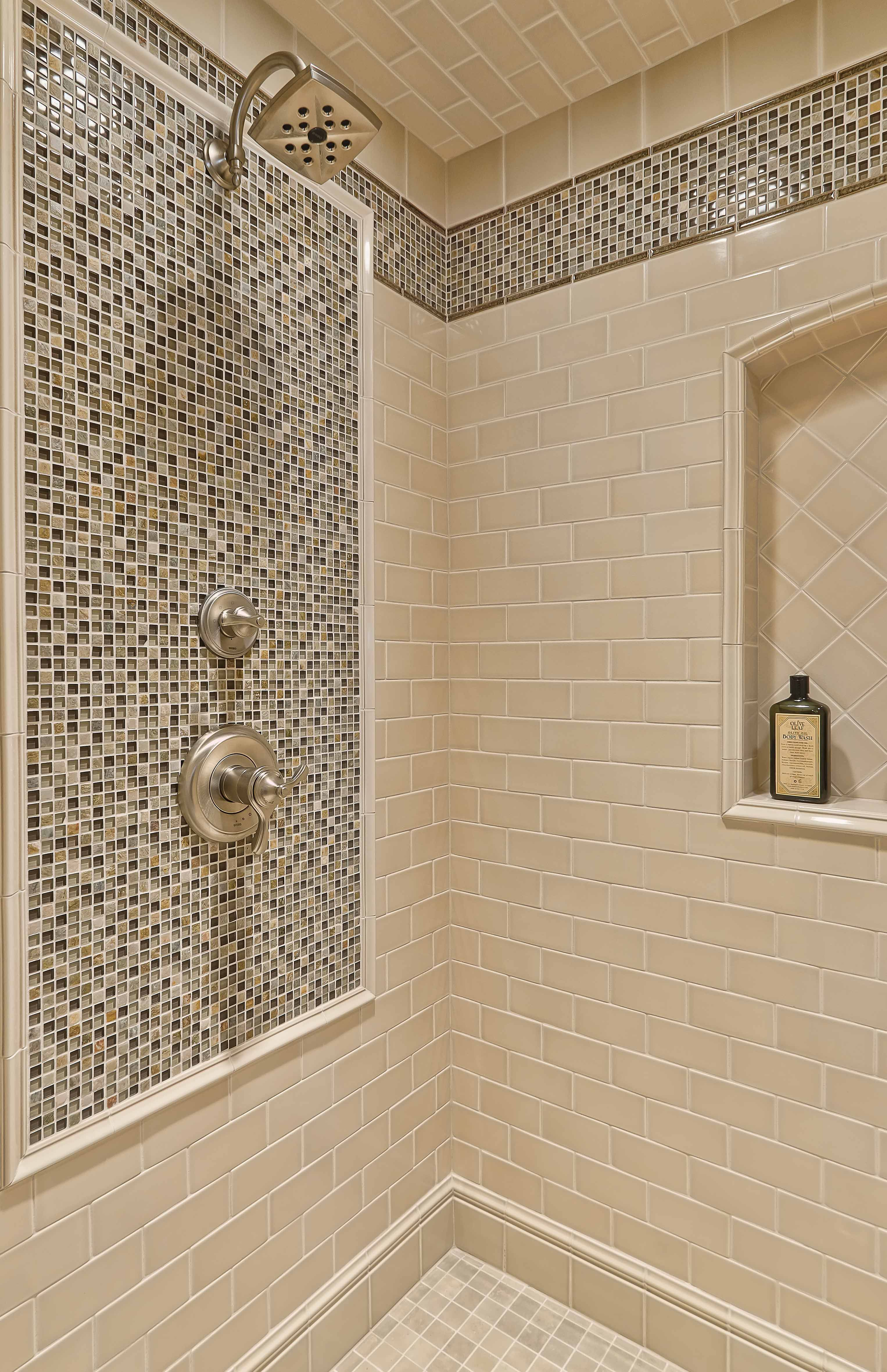 Shower Tile Is Made Out Of Led Gl With Making Trim Pieces And Stone Accent Mosaics