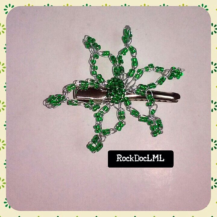 Green Starburst Wire Crochet Hair Pin by RockDocLML on Etsy https://www.etsy.com/listing/240588567/green-starburst-wire-crochet-hair-pin
