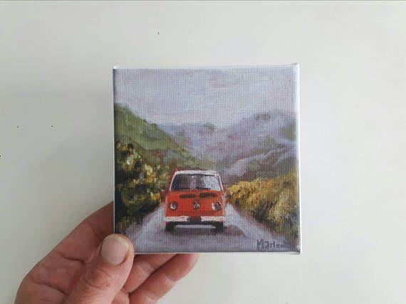 Small canvas print camping painting mountain print print