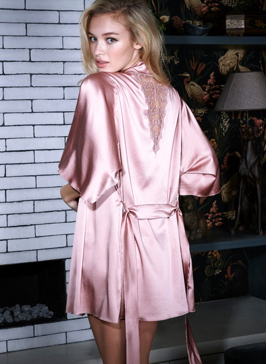 p>This elegant and sophisticated silk robe features delicate lace ...